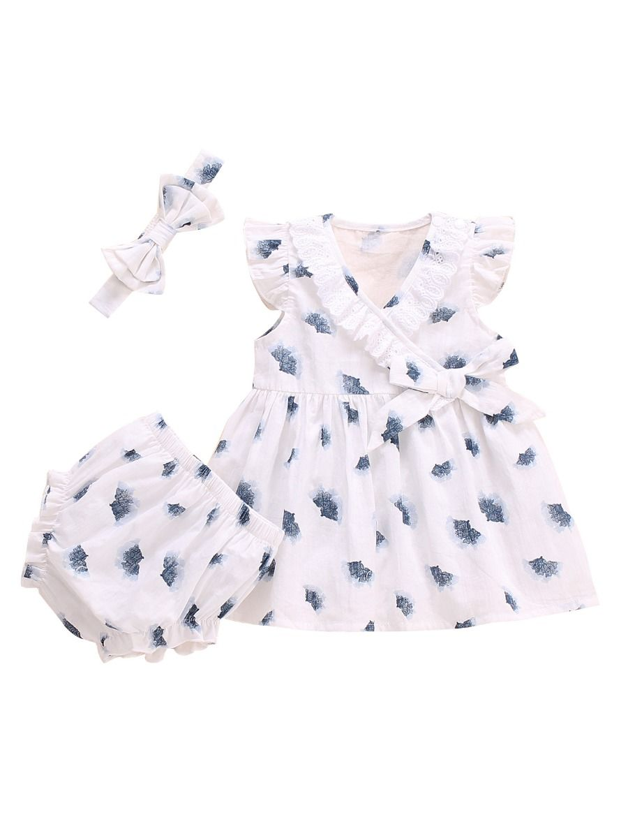 e504f937a578a 3-Piece Baby Girl Outfits Lace Trim Flutter Sleeve Top+Ruffle Shorts+ Headband ...