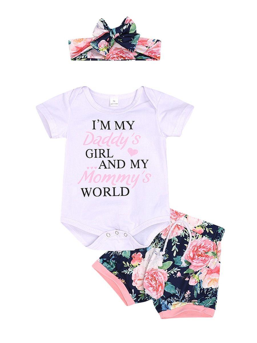 Daddy/'s Girl Mommy/'s World baby girl bodysuit
