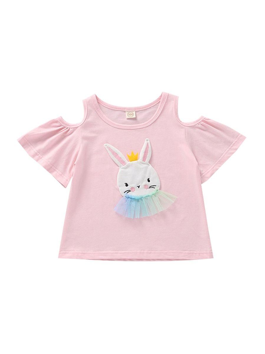 6fc037b953 Bunny Applique Off Shoulder Pink T-shirt