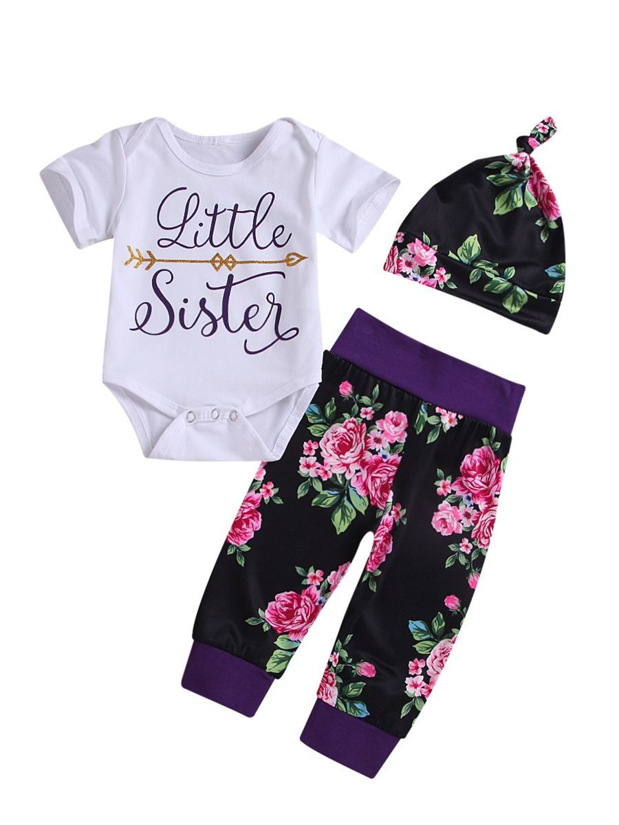 Newborn Baby Boy shirt Tops Pants Trousers Hat 3PC Little Brother Outfit Clothes