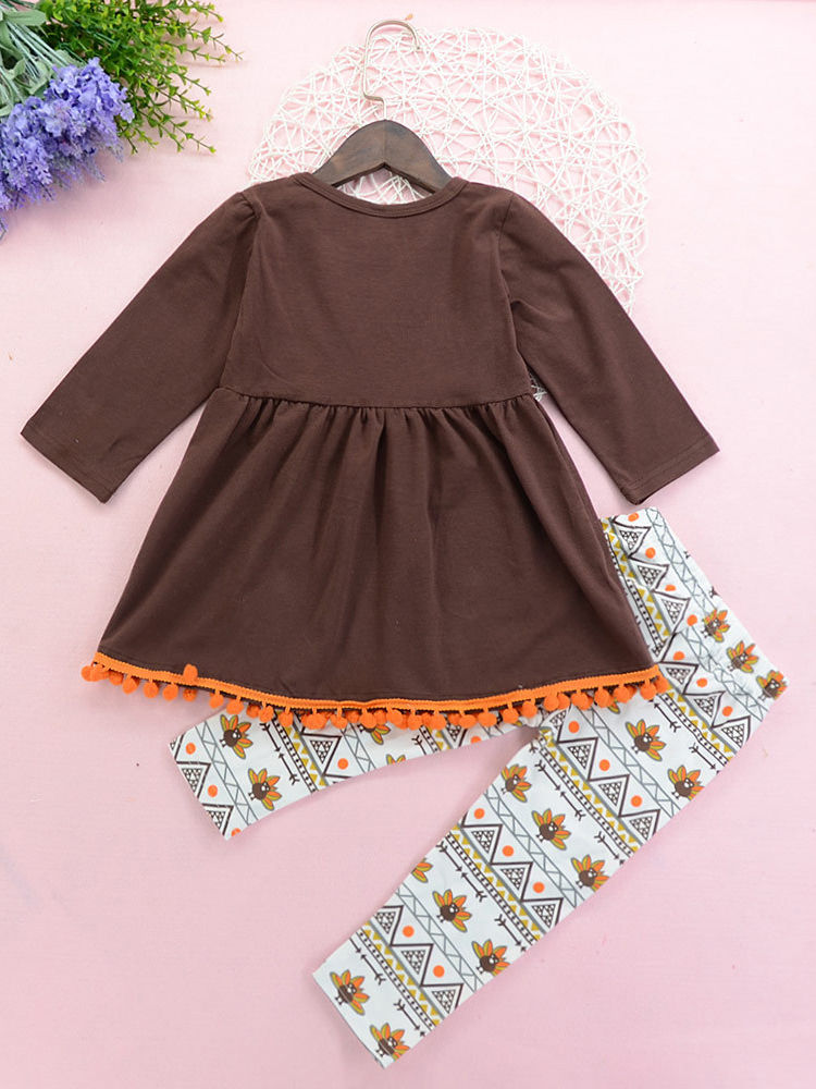 Thanksgiving Kids Toddler Baby Girls Dresses Pumpkin Turkey Bell Sleeve Dress Outfits Fall Clothes