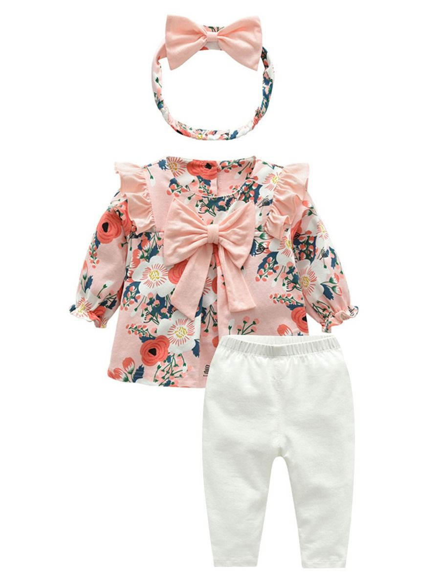 Baby Girls Spanish Floral Printed Bow Dress /& Matching Cardigan Outfit