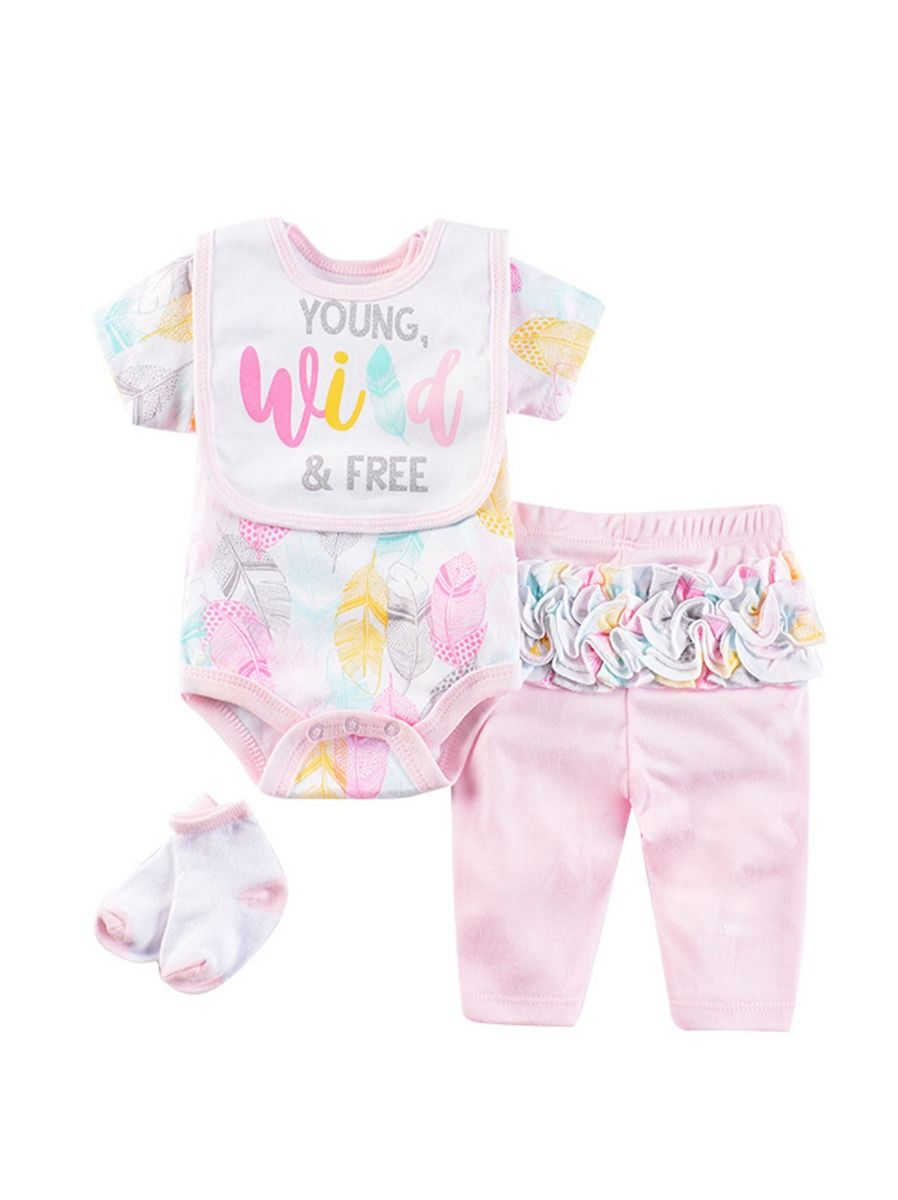 8-Piece Newborn Baby Girl Clothes Outfits Bodysuit+Ruffle Pants+Socks+Bib