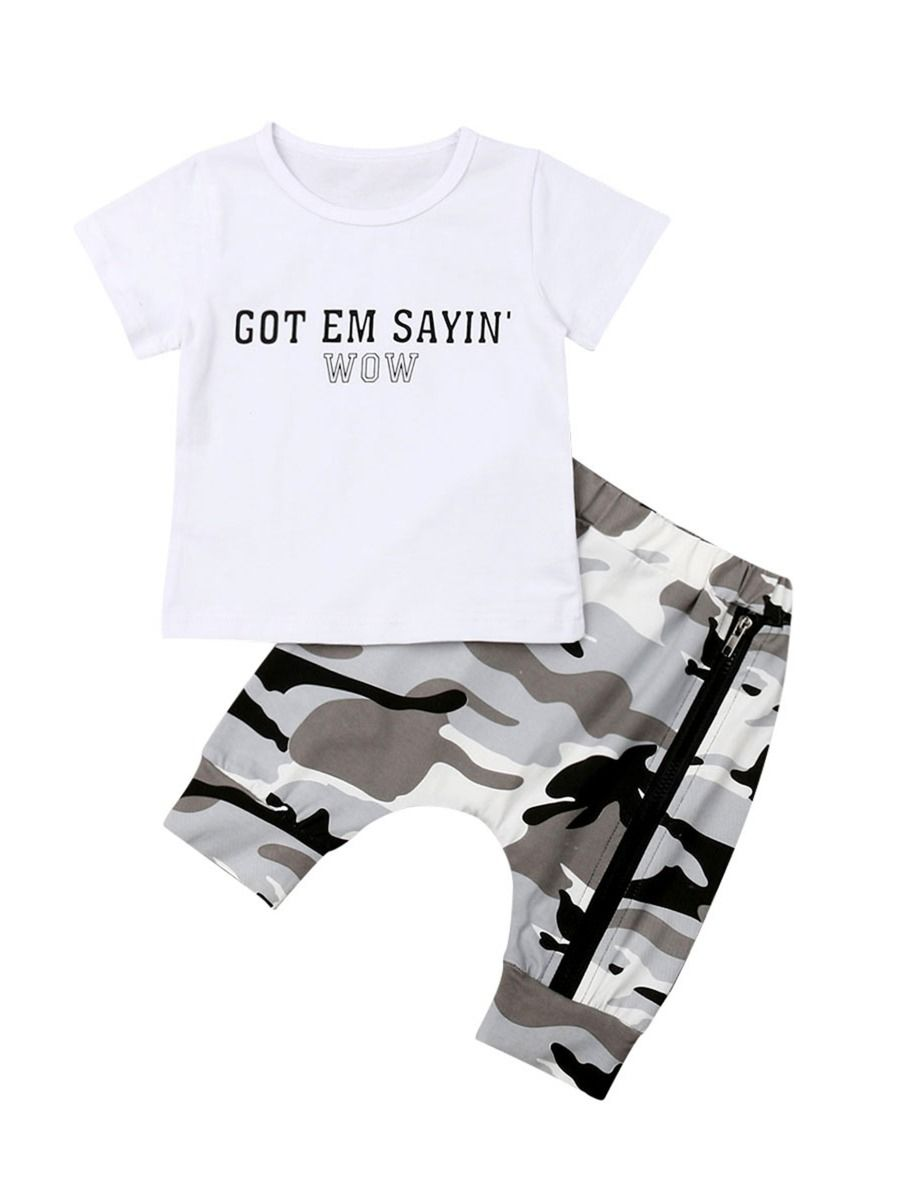 788ce7eae2fa4 2-Piece Fashion Baby Toddler Boy Letters Tee Matching Sided Zip Camo Pants  Set Wholesale