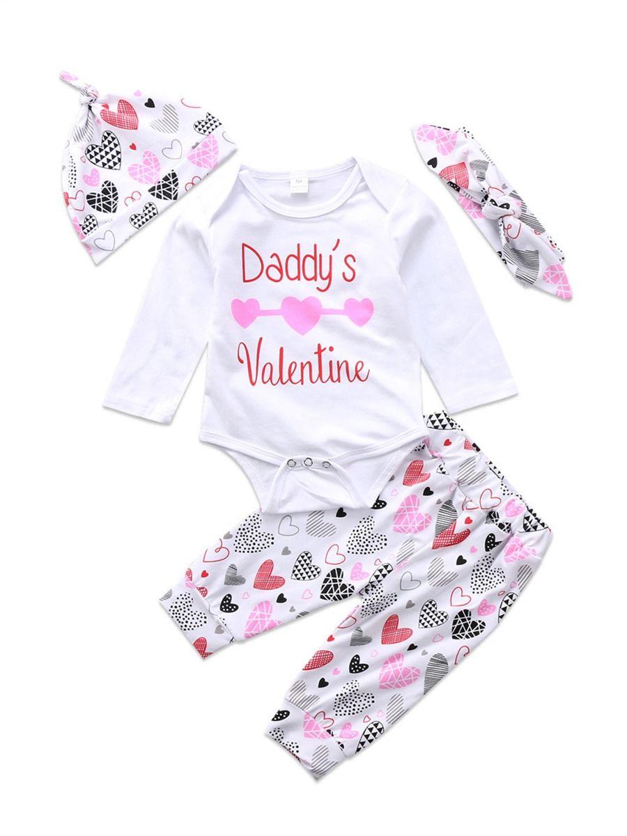 8ce9eed7a08fa 4-Piece Baby Girl Daddy's Valentine Love Heart Bodysuit+Pants+Hat+Headband  Set