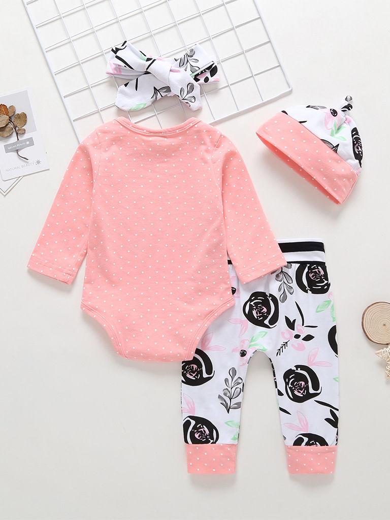 805c98ccaef 4-Piece Fall Baby Girl Outfits Hello World Arrow Bodysuit+Flower  Pants+Headband+Hat Set Wholesale