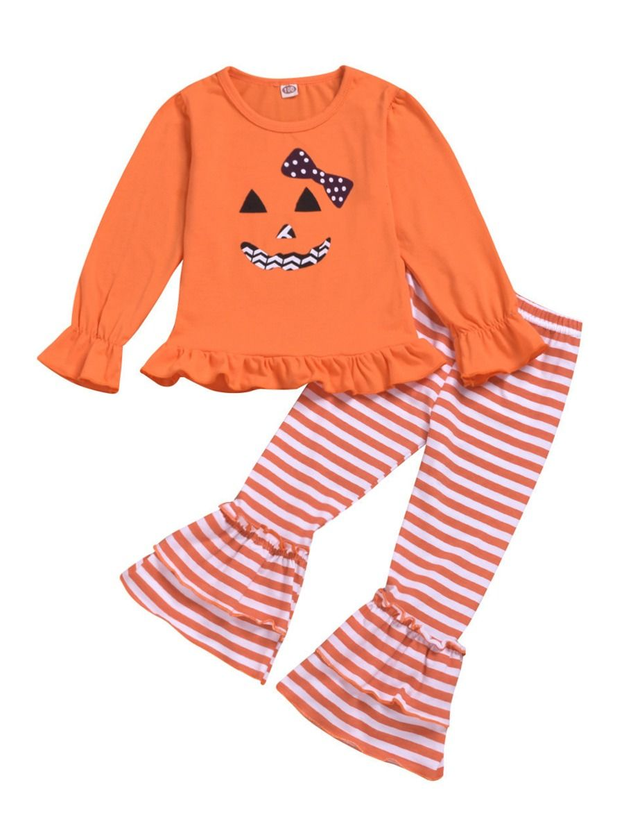 Toddler Kids Baby Girls Pumpkin Cotton Stripe Pants Halloween Costume Outfits