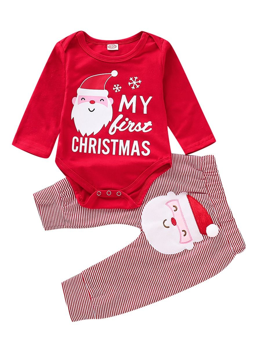 First Christmas.2 Piece My First Christmas Romper Santa Pants Set