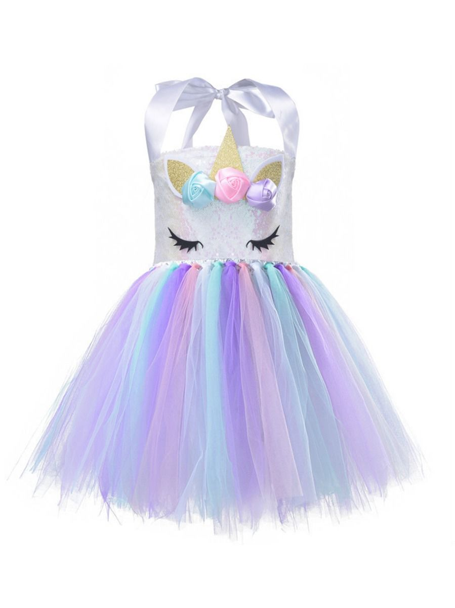 Halter Neck Sequins Unicorn Birthday Party Dress