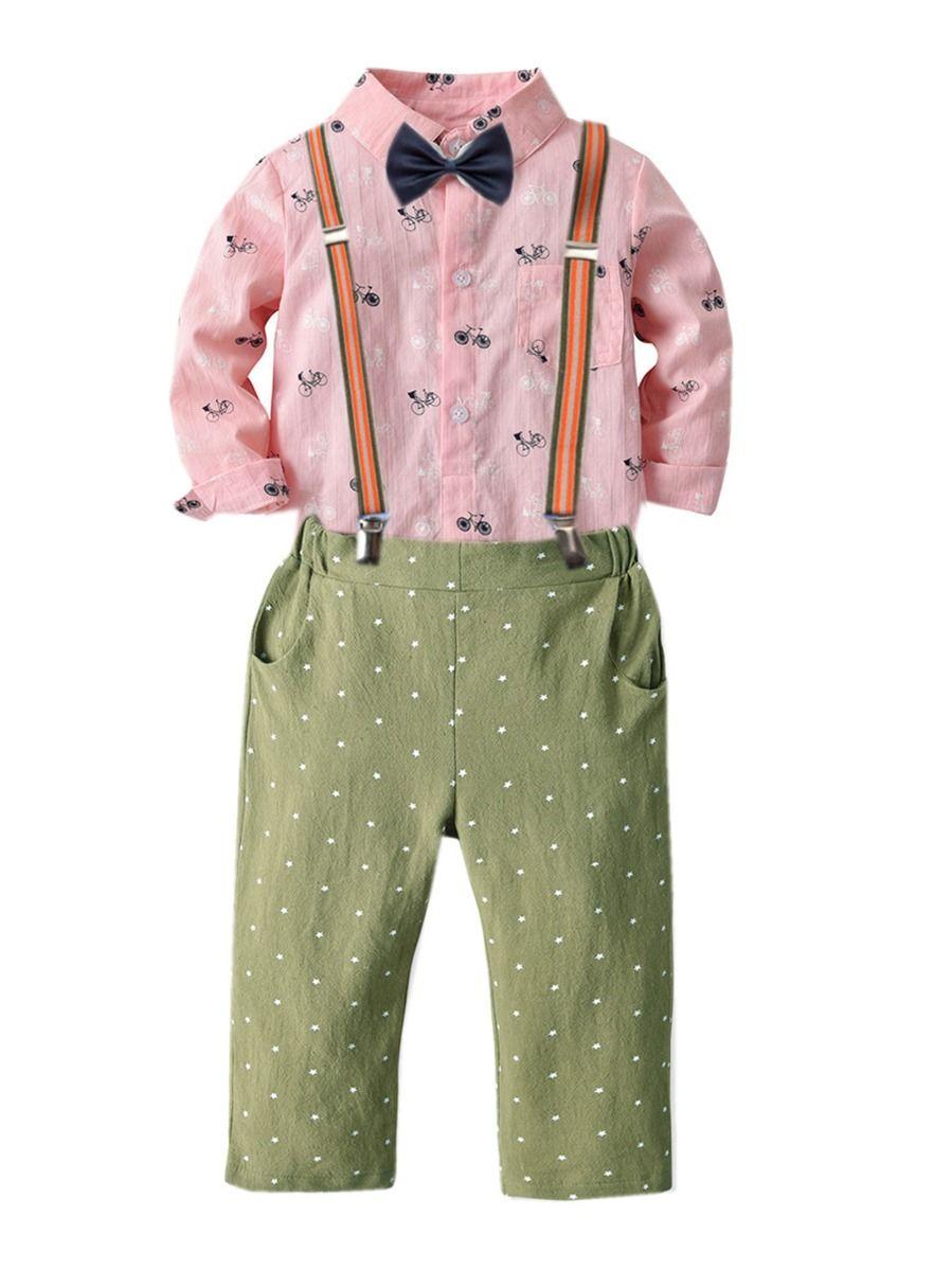 Toddler Baby Boys Stars Dot Gentleman Shirt Bowtie Denim Pants Outfit Suit Set