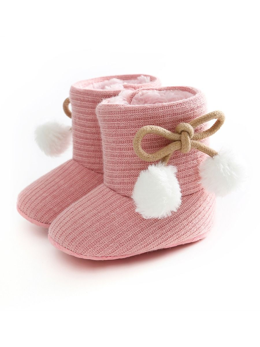 Winter Pom trim Baby Girl Fur Boots