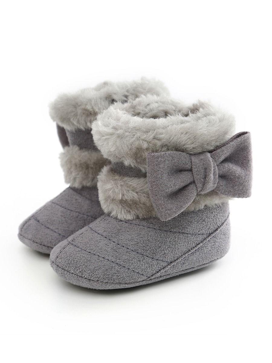 Wholesale Soft Fur Big Bow Prewalker
