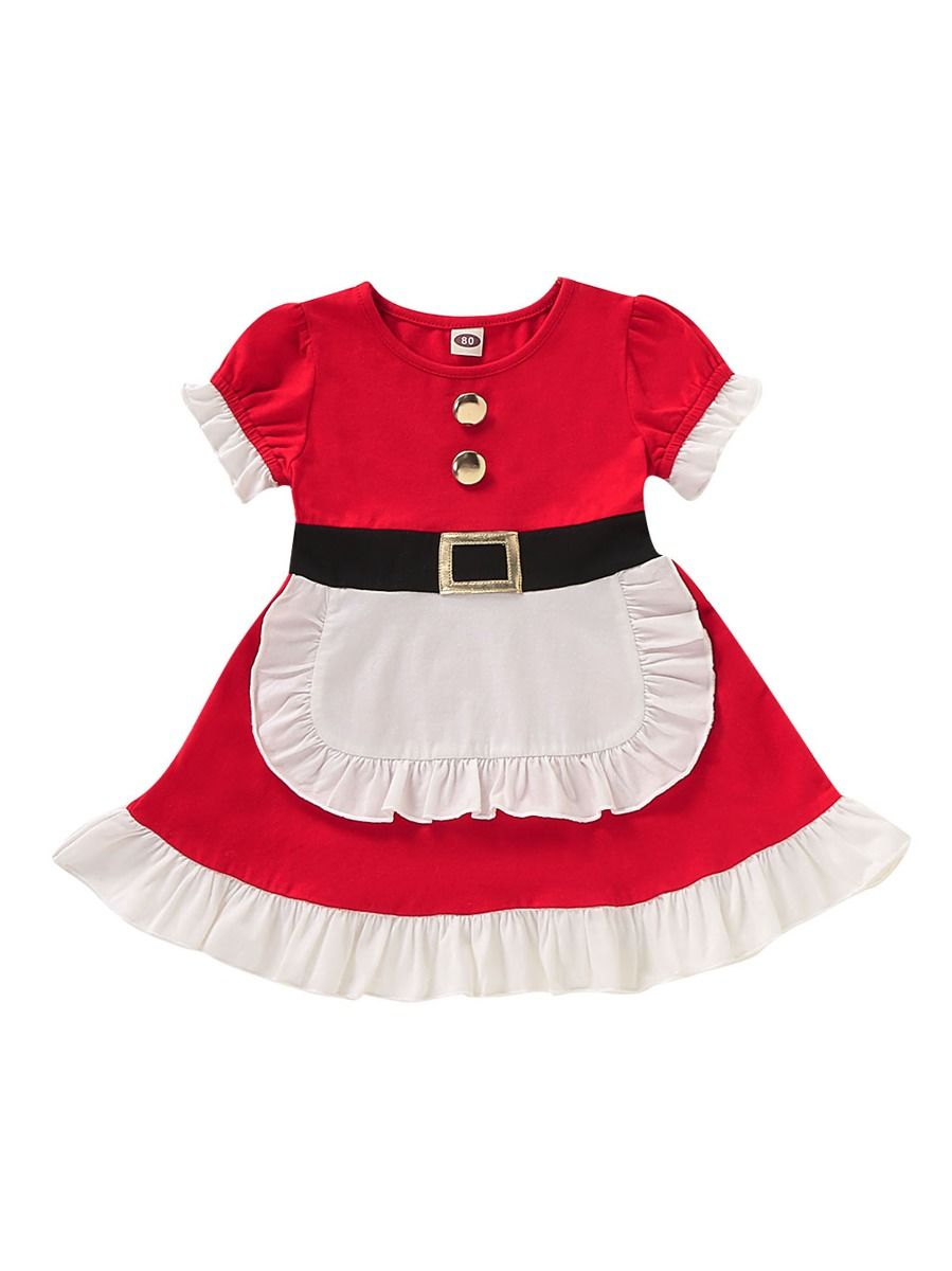 Toddler Christmas Dress.White Red Christmas Dress Short Sleeved