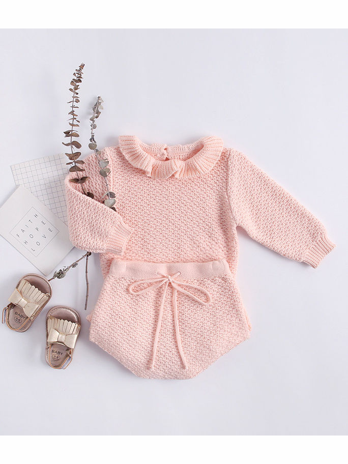 Spanish Pink And Grey 2 Piece Knitted Dress And Leggings Set With Frill And Bow