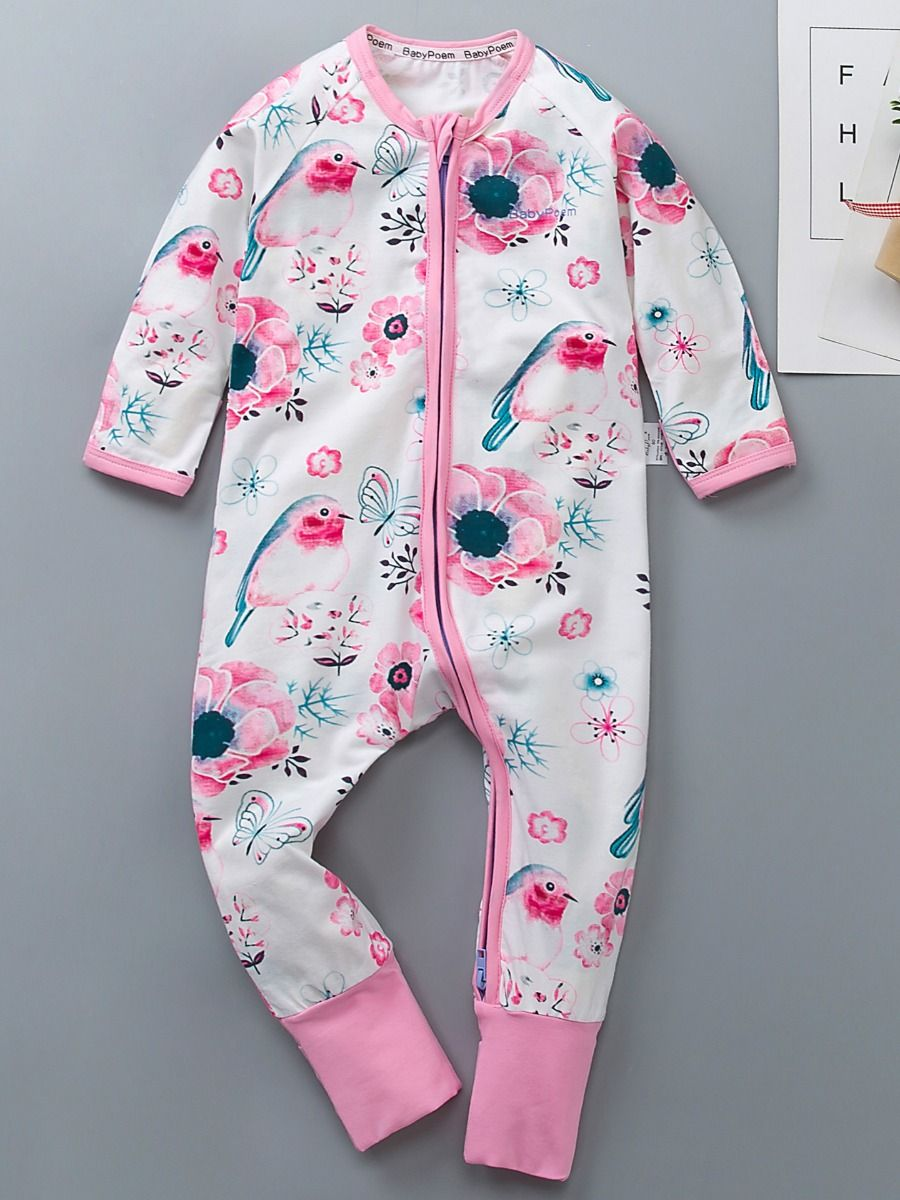 9ad895a6ab8d Floral Print Baby Girls Jumpsuit Kids Pajamas Onesie with Zipper for Fall  ...