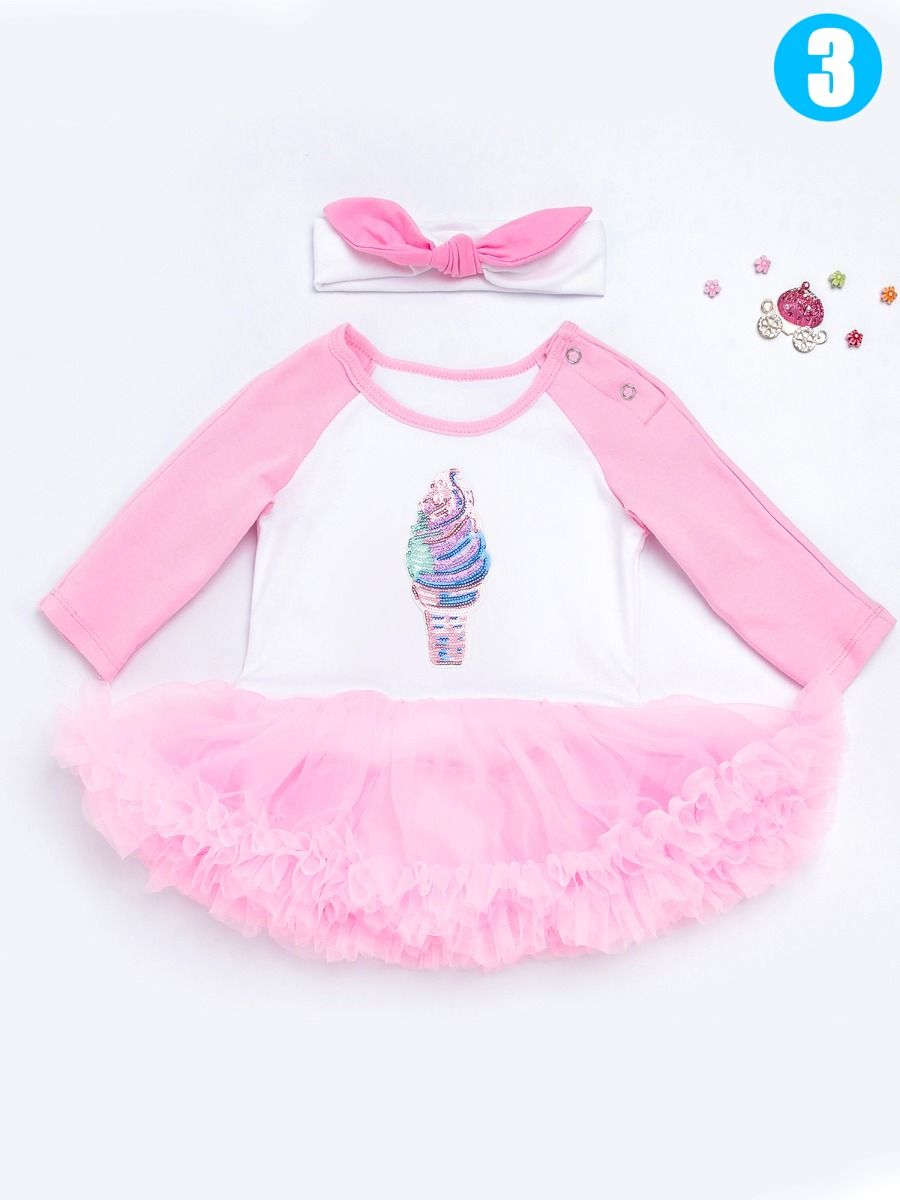73816bb9e ... Trendy Unicorn Ice Cream Sequins Pattern Baby Girl Romper Tulle Dress  with Bow Headband ...