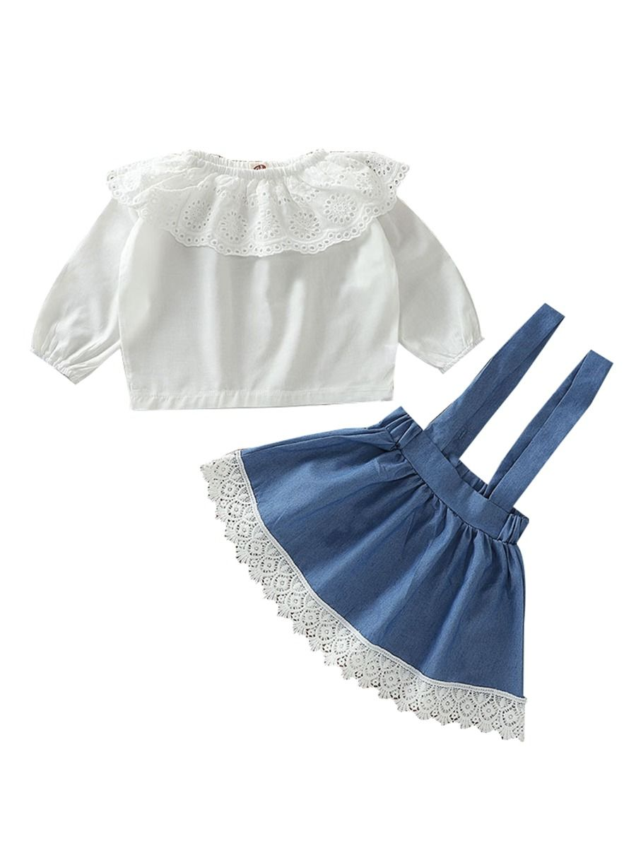Brown Ruffle Lace Up Faux Suede Mini Skirt Summer Outfits Set 2PCS Baby Girl Clothes Dark Green Off Shoulder Crop Top