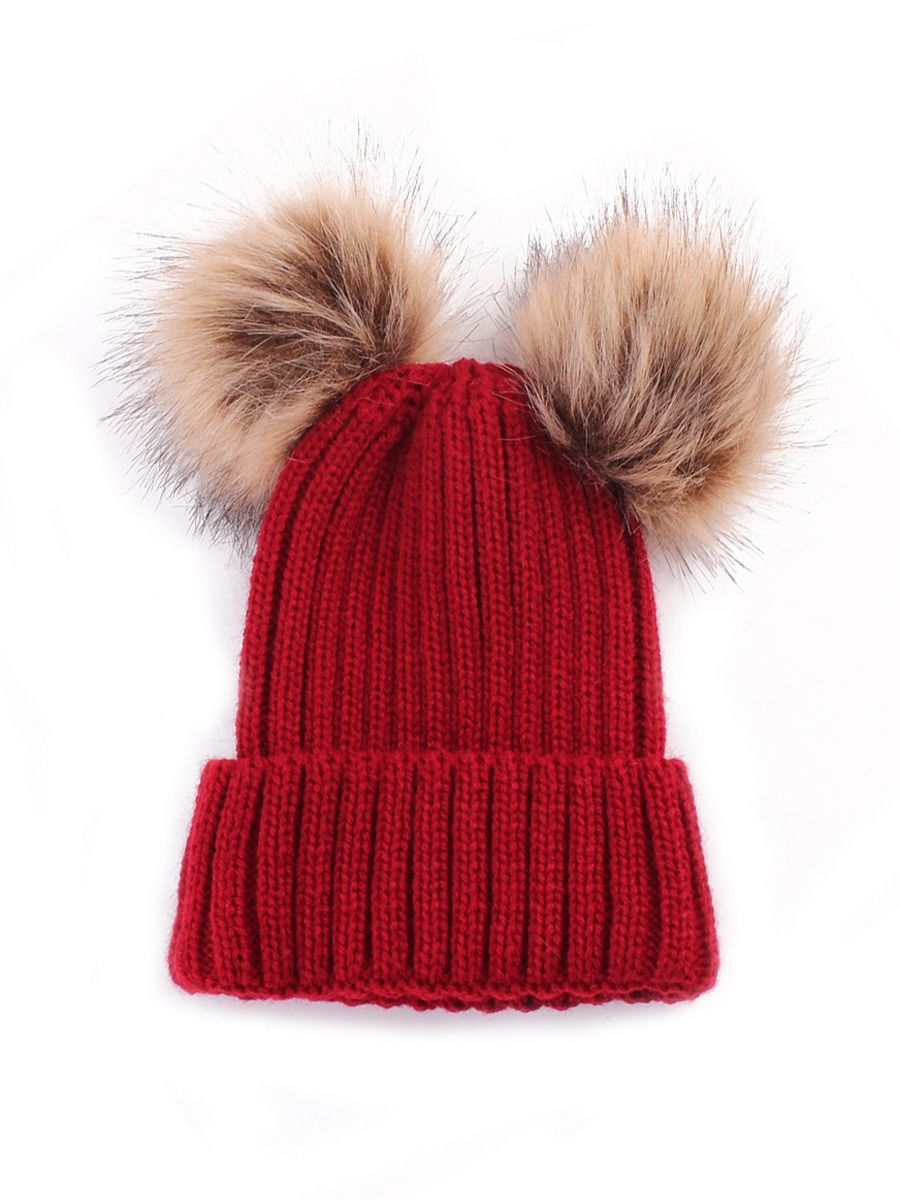 shestar wholesale Adorable Baby Knit Double Pom Pom Hat