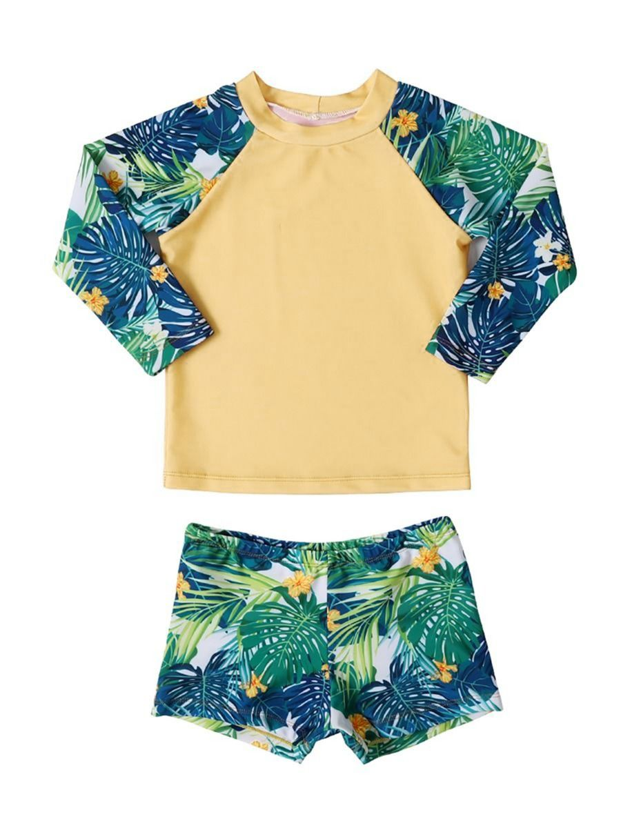 kiskissing wholesale 2-piece toddler little boys flower leaf swimwear set