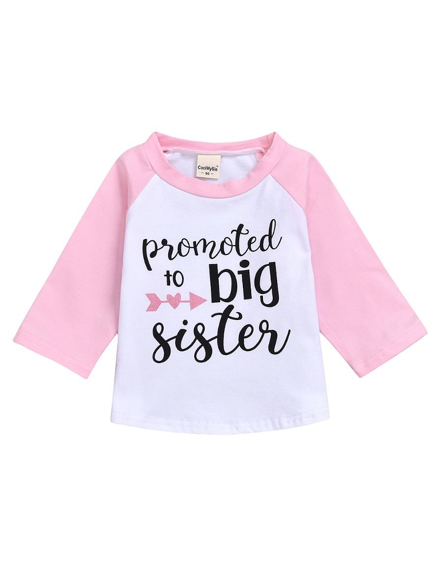 Wholesale Promoted to Big Sister Color Blocking T-shirt