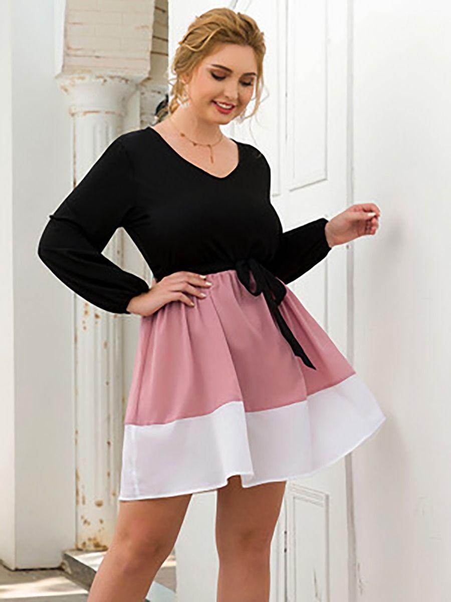 Peach-neck High Waist Color-blocking Plus Size Women A-line Dress