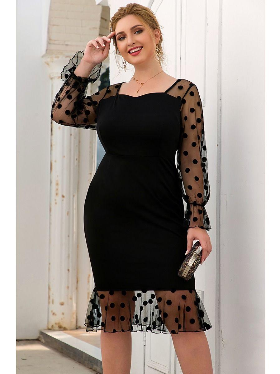 Plus Size Mesh Bodycon Women Dress