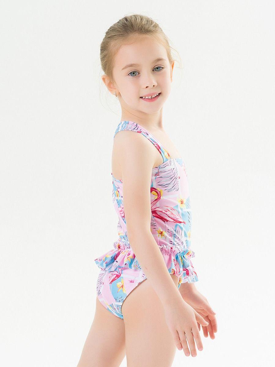 Saidi Girls one Piece Swimsuit Flowers L 6