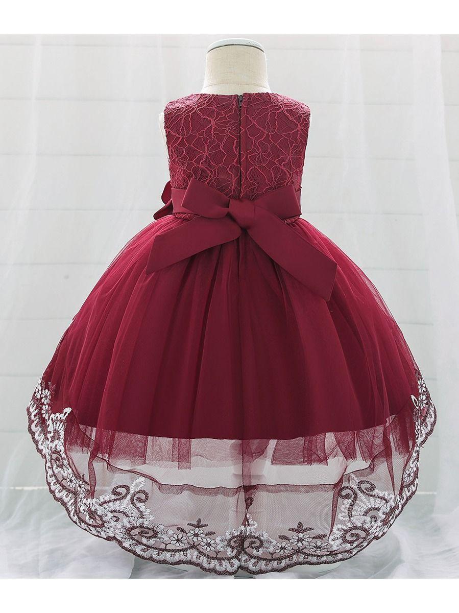 CuteRose Baby Grils Party Princess Evenning Lace Trim Infantile Dress