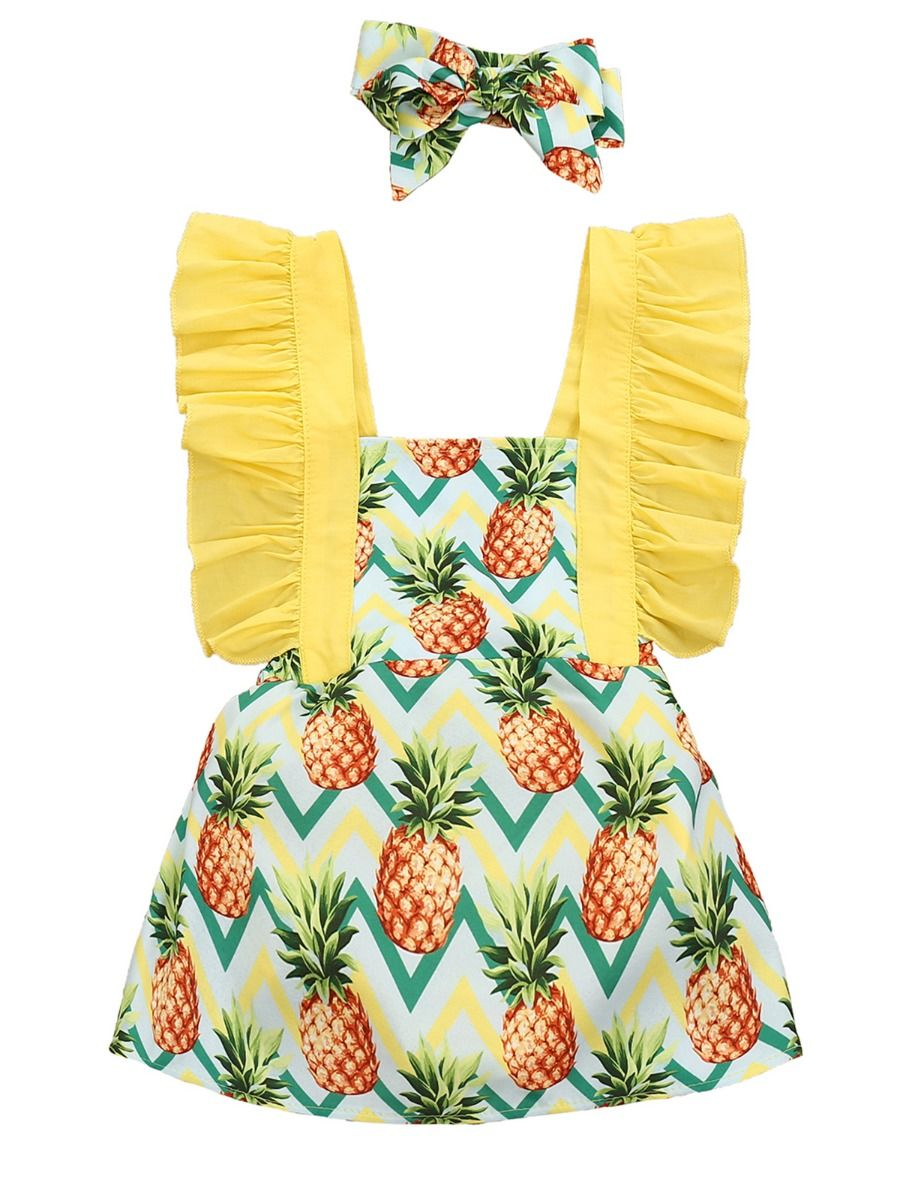 Bow-Knot Headband 2 Pcs Sets Baby Girl Pineapple Printed Ruffle Sleeves Top