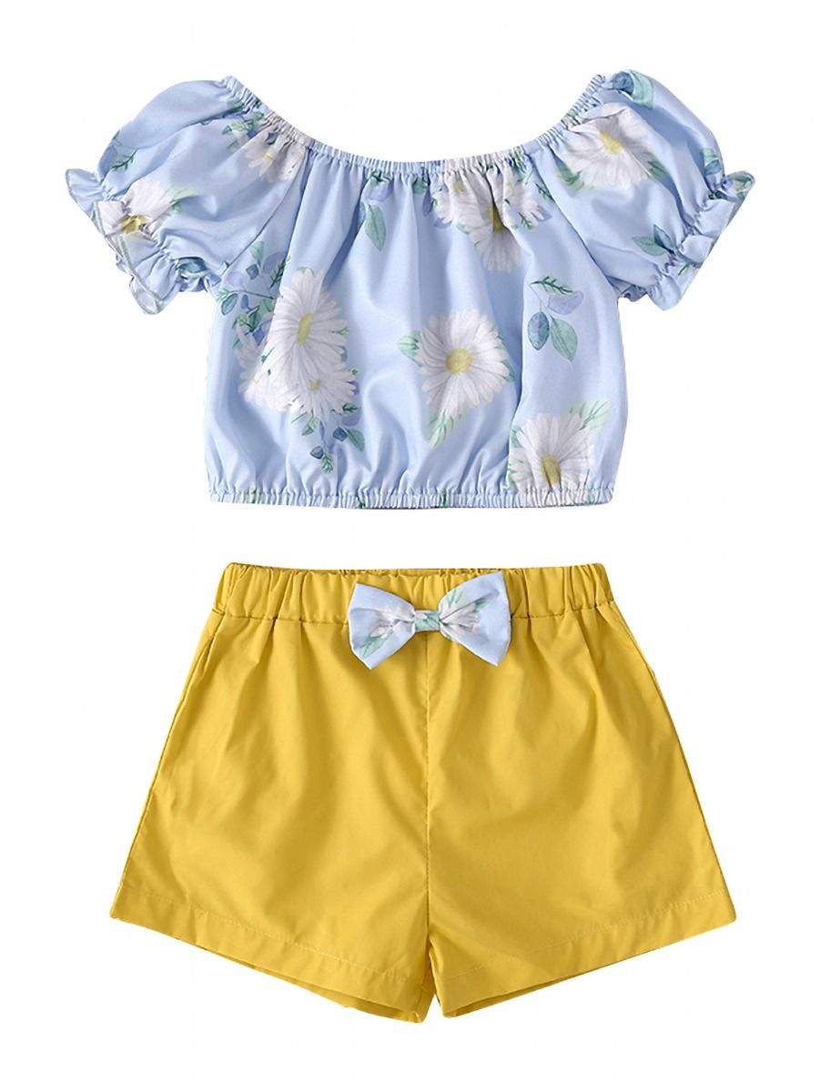 2-Piece Little Girl Flutter Sleeve Yellow Top And White Shorts