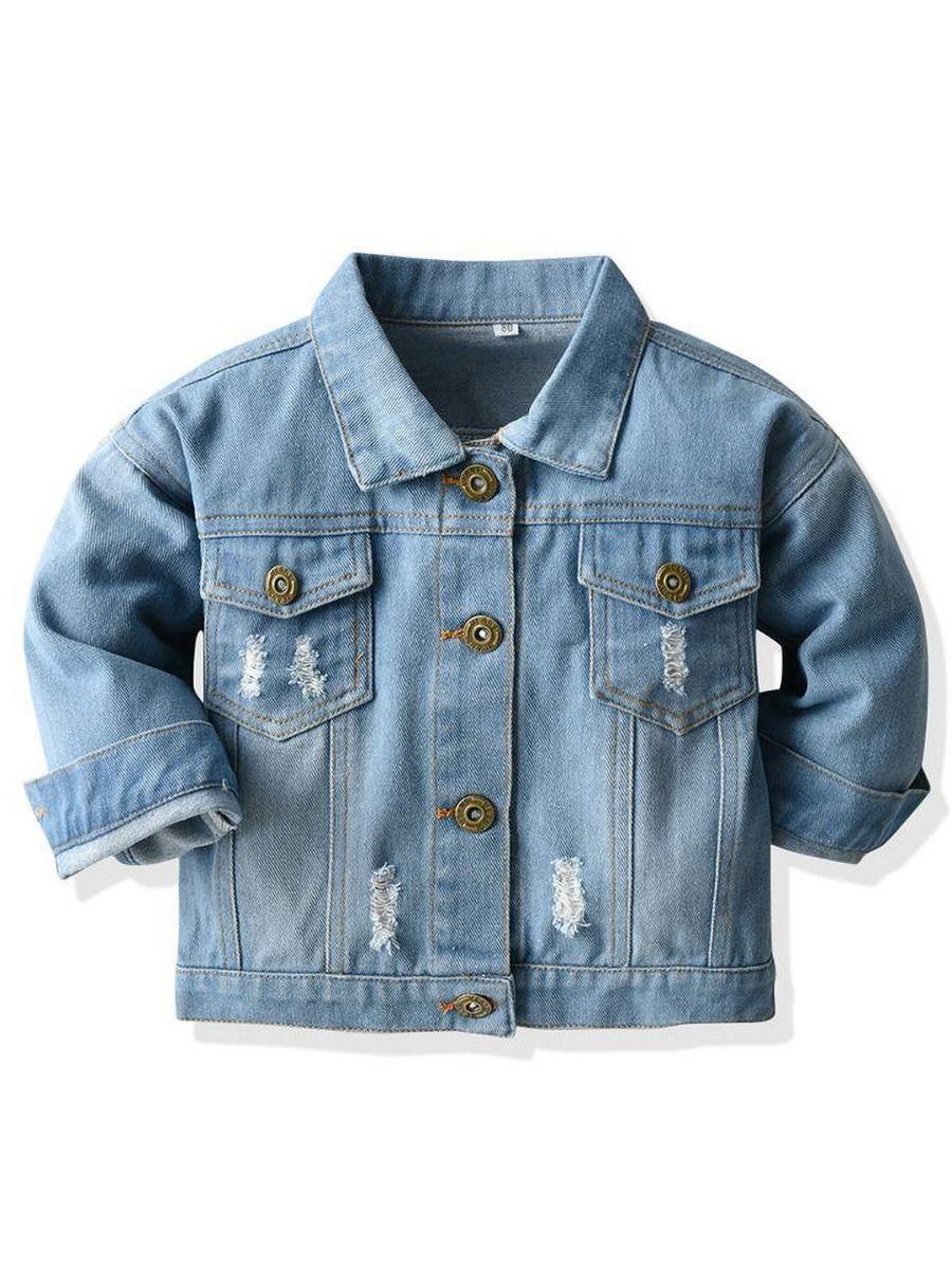shestar wholesale Unisex Baby Kid Ripped Detail Denim Jacket