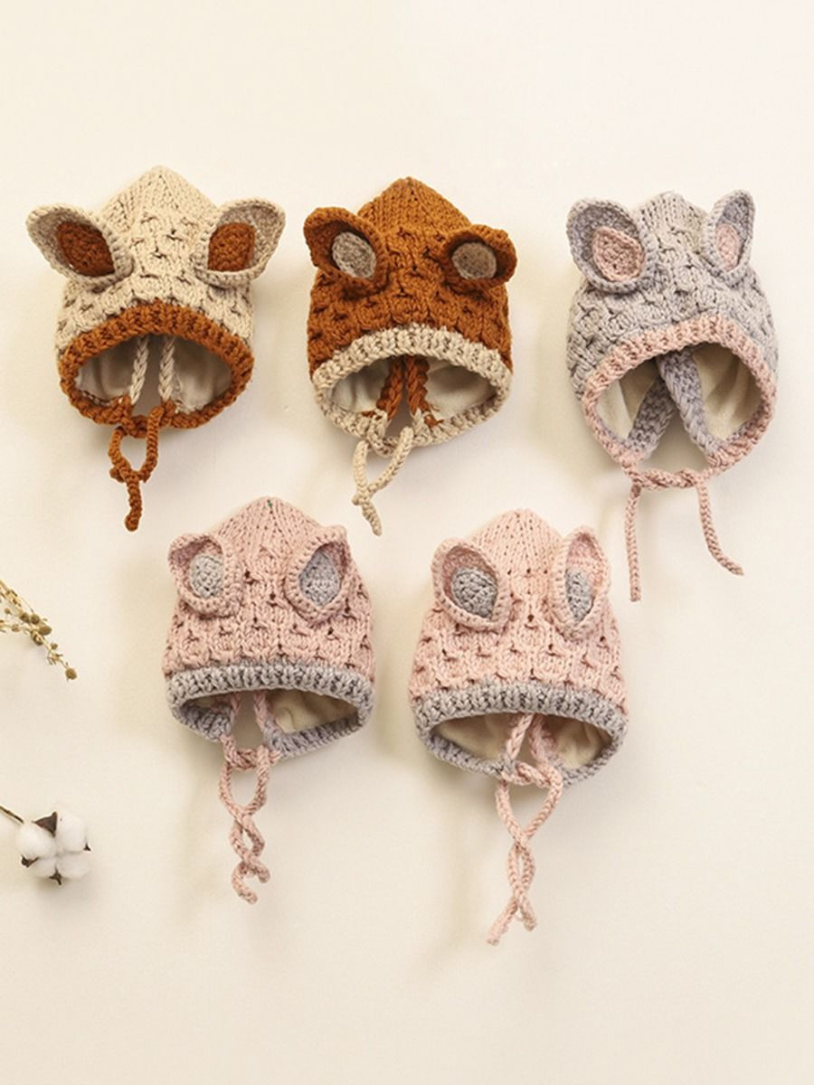 kiskissing wholesale Baby Rabbit Ear Color Blocking Knit Hat