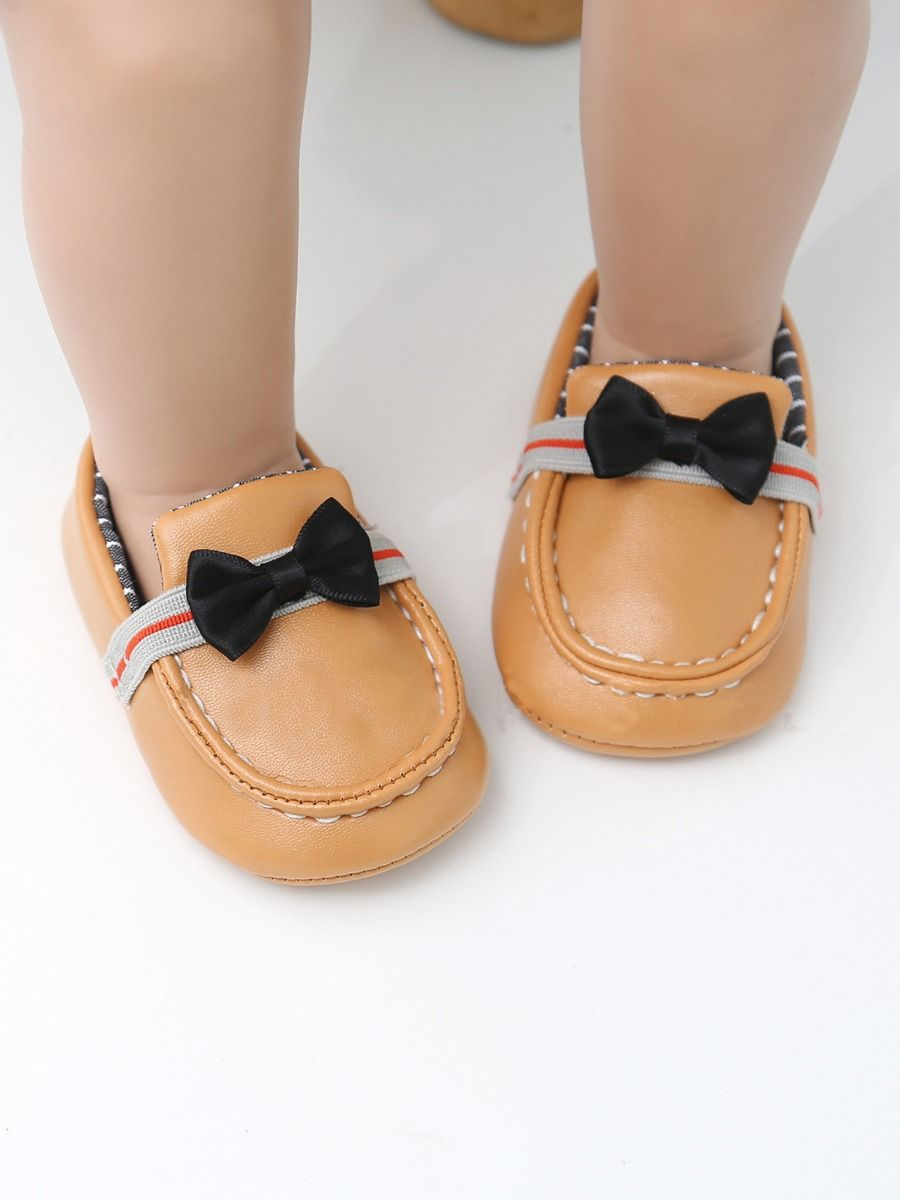 kiskissing wholesale Baby Stripe Bowknot Moccasin Crib Shoes