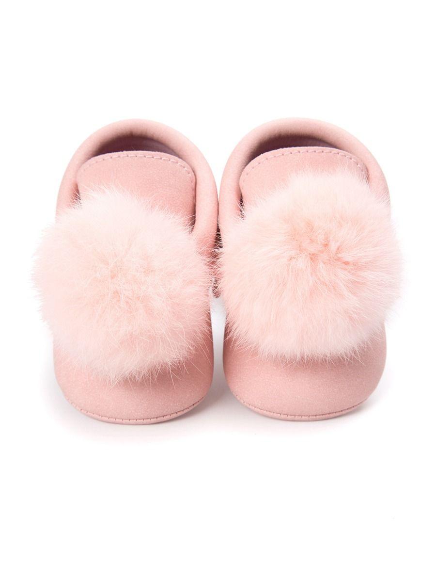 kiskissing wholesale Baby Pom Pom Moccasin Crib Shoes
