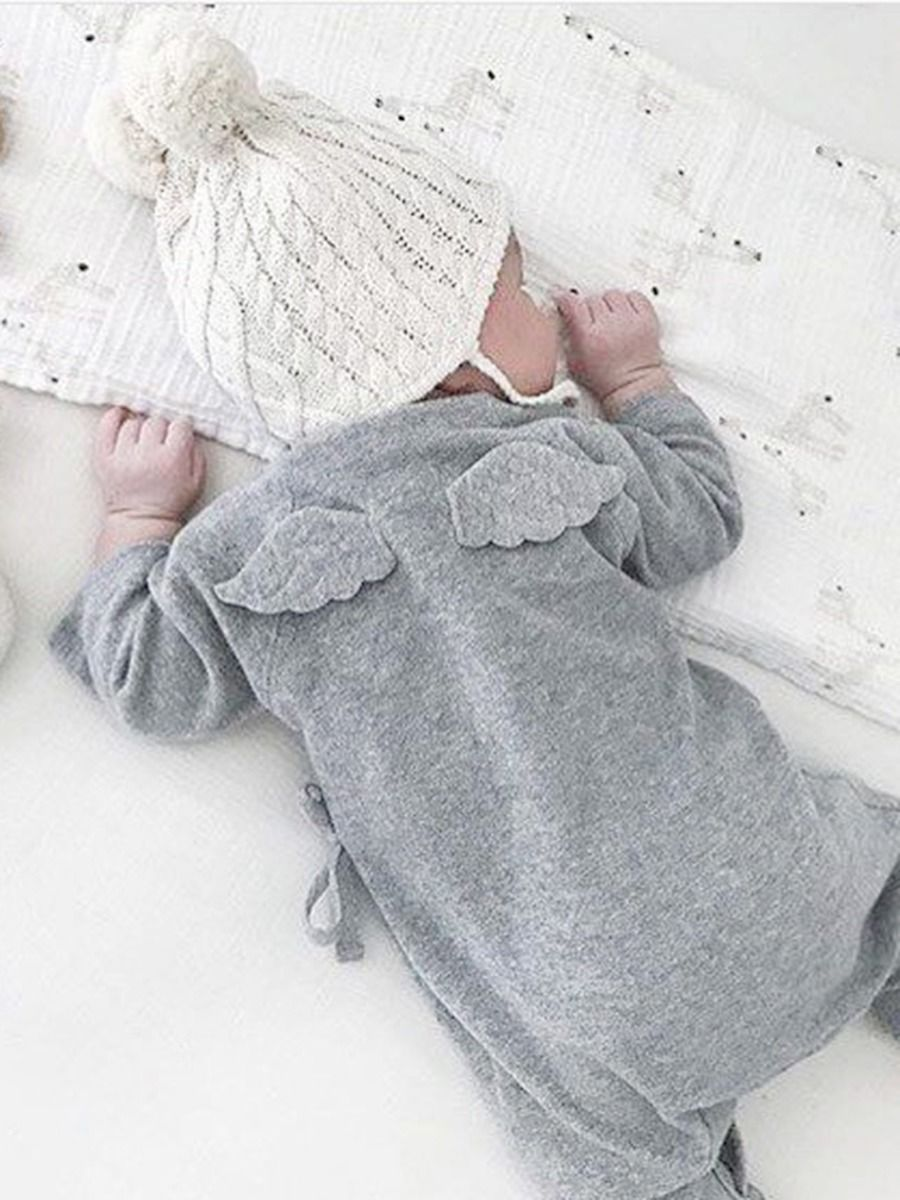 kiskissing wholesale Infant Baby Self Tie Back Wings Jumpsuit 2012