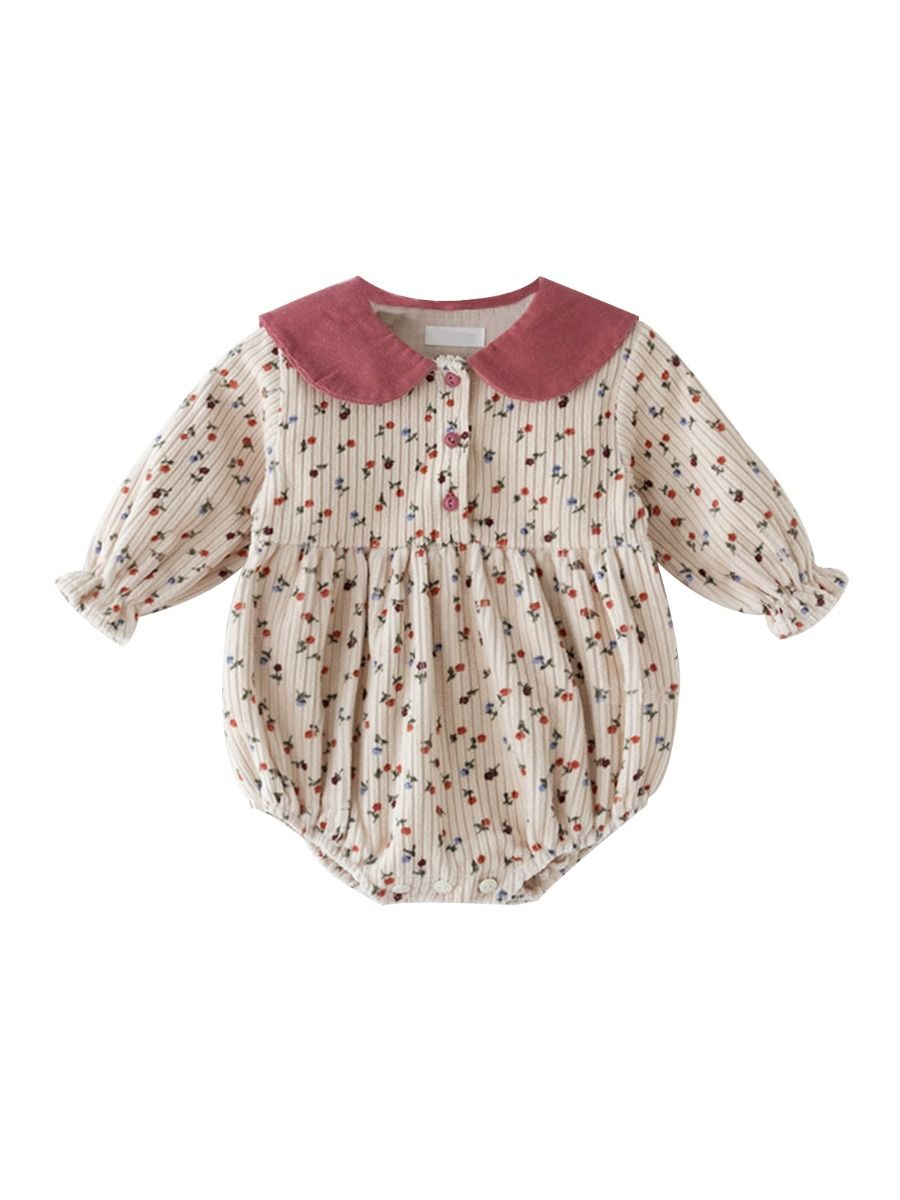kiskissing wholesale Spring Baby Girl Contrast Collar Floral Print