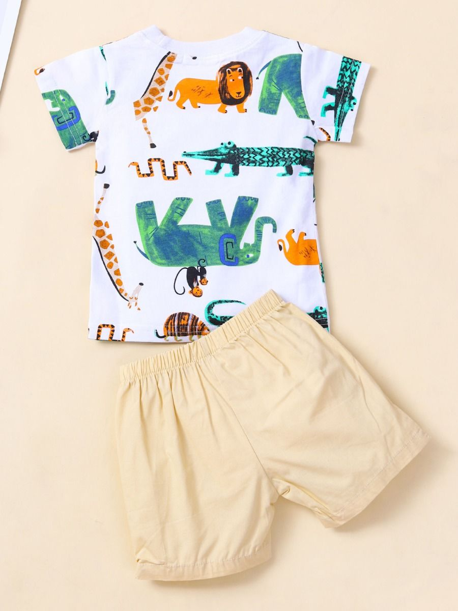 kiskissing wholesale Wholesale 2 Pieces Baby Boy Animal Print T-shirt With Shorts