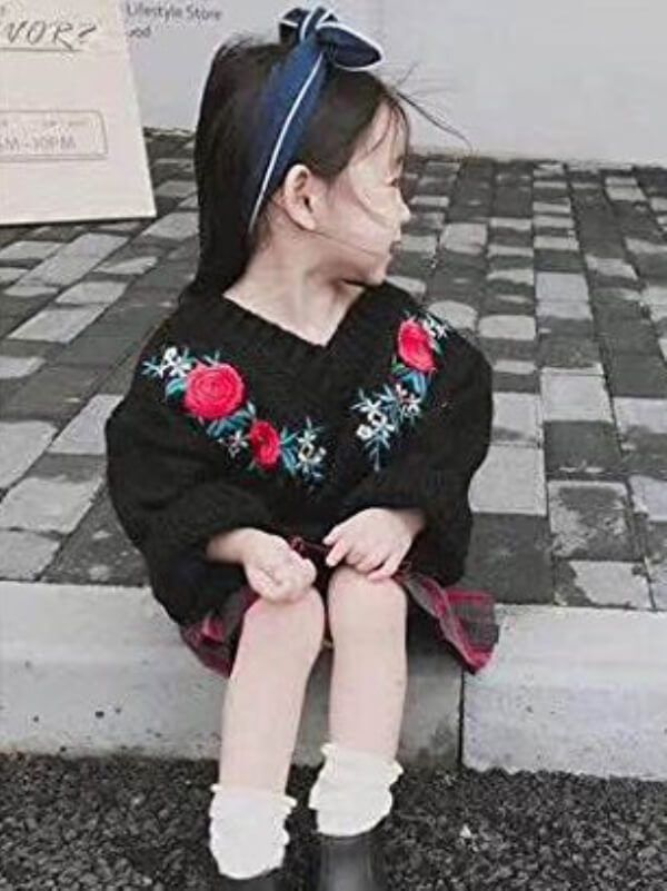 b1512c460 Tap to expand · Kiskissing Flowers Pattern black Knitting Embroidery Sweater  for Toddlers Girls wholesale childrens clothing ...