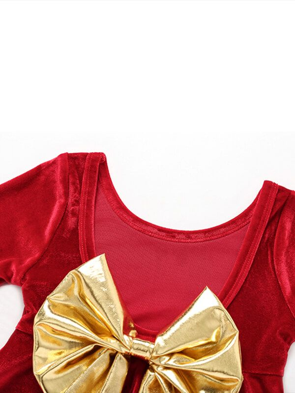 6ea9d5a41a12 ... Bow Tie Velvet Backless Red Princess Dress for Babies Toddlers ...
