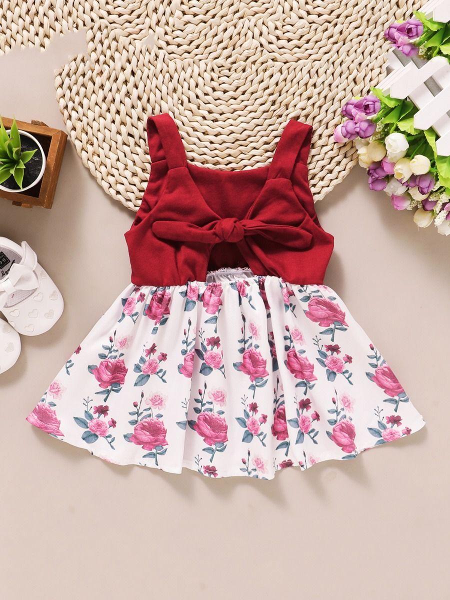 kiskissing wholesale Baby Girl Floral Bow Decor Tank Dress