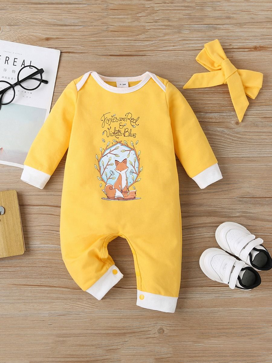kiskissing wholesale 2 Pieces Baby Girl Fox Letter Yellow Jumpsuit