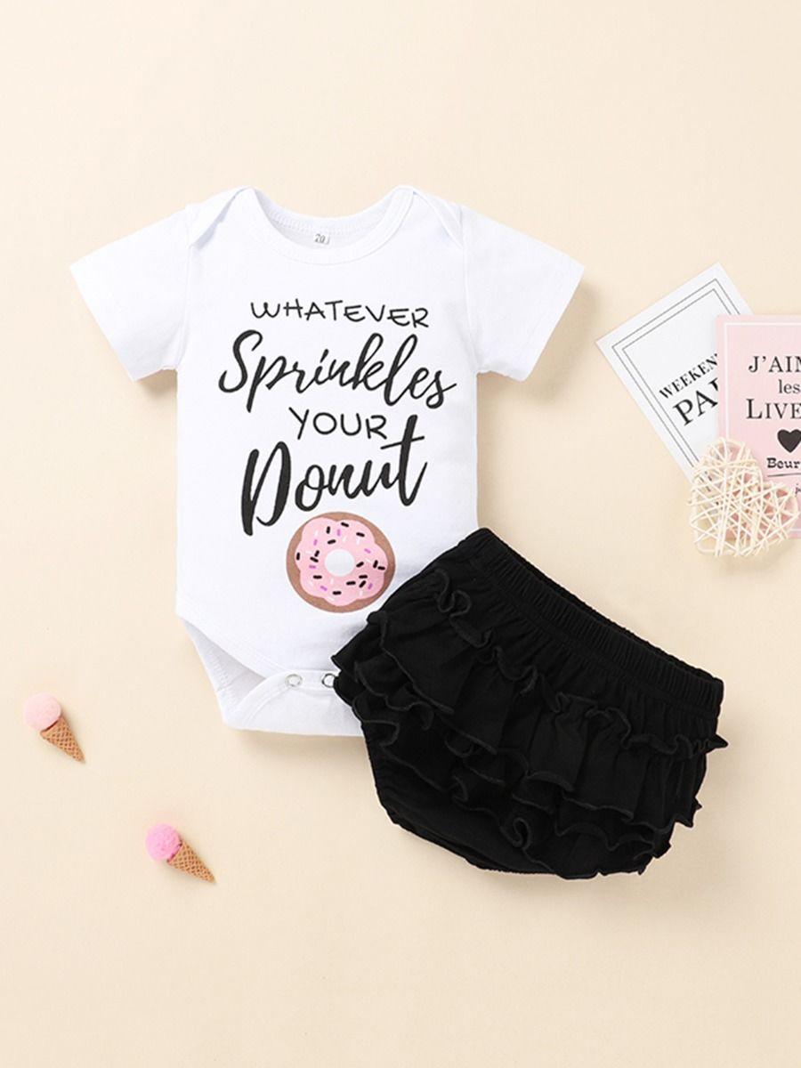 kiskissing wholesale 2 Pieces Infant Girl Donut Letter Print Bodys