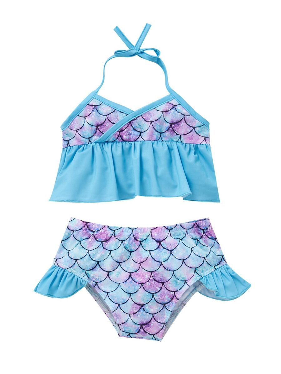kiskissing wholesale 2-pieces kid girl fish scales swimwear set