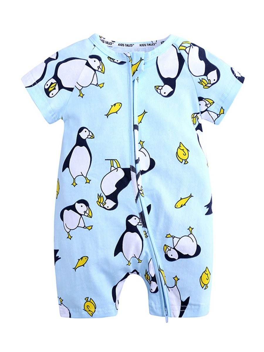 kiskissing wholesale Wholesale Print Zipper Romper For Baby