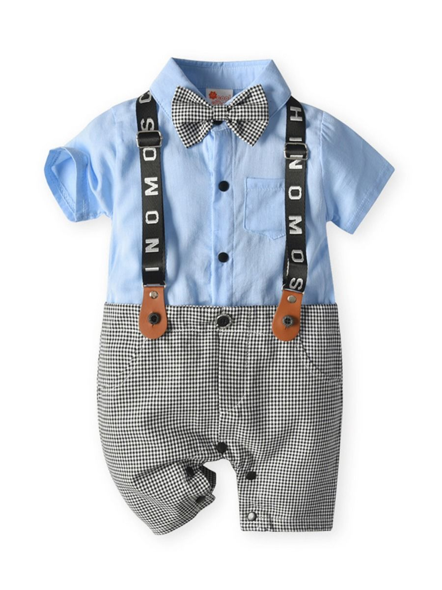 kiskissing wholesale Wholesale Fake Two Piece Baby Hit Color Check Gentleman