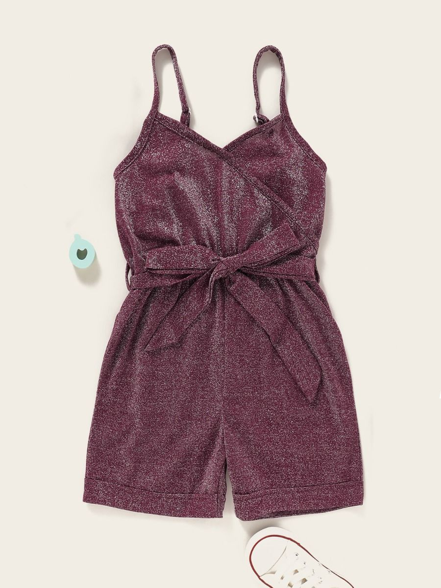 kiskissing wholesale Wholesale Little Girl Glitter Belted Cami Romper
