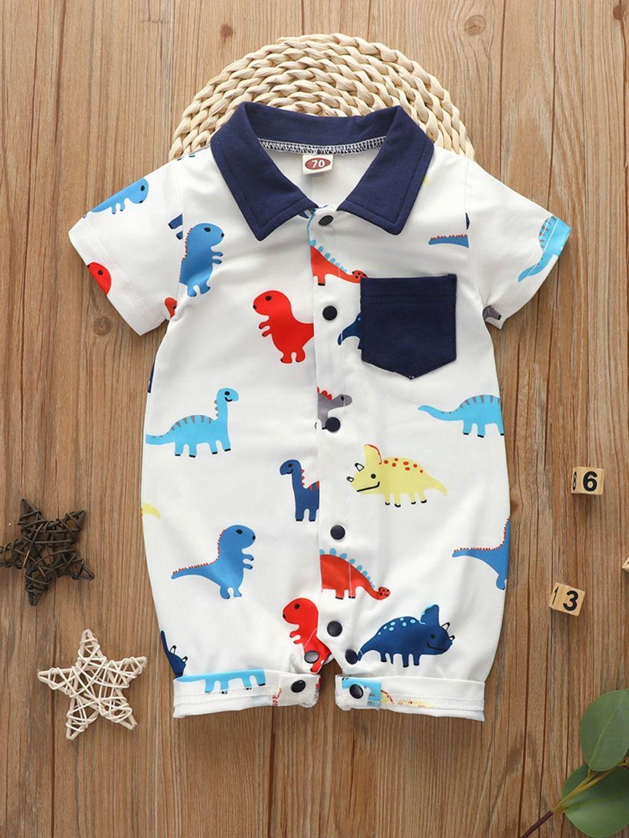 kiskissing wholesale Wholesale Infant Boy Dinosaur Print Polo Romper