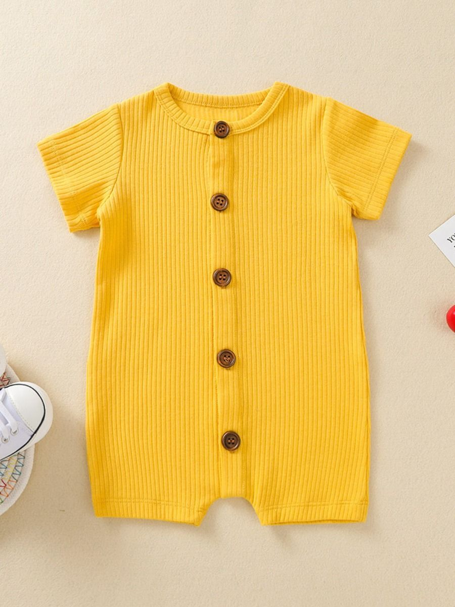 kiskissing wholesale Wholesale Baby Button-Up Solid Color Ribbed Romper