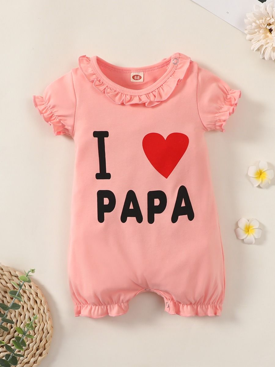 kiskissing wholesale Wholesale I love Papa Print Baby Girl Romper