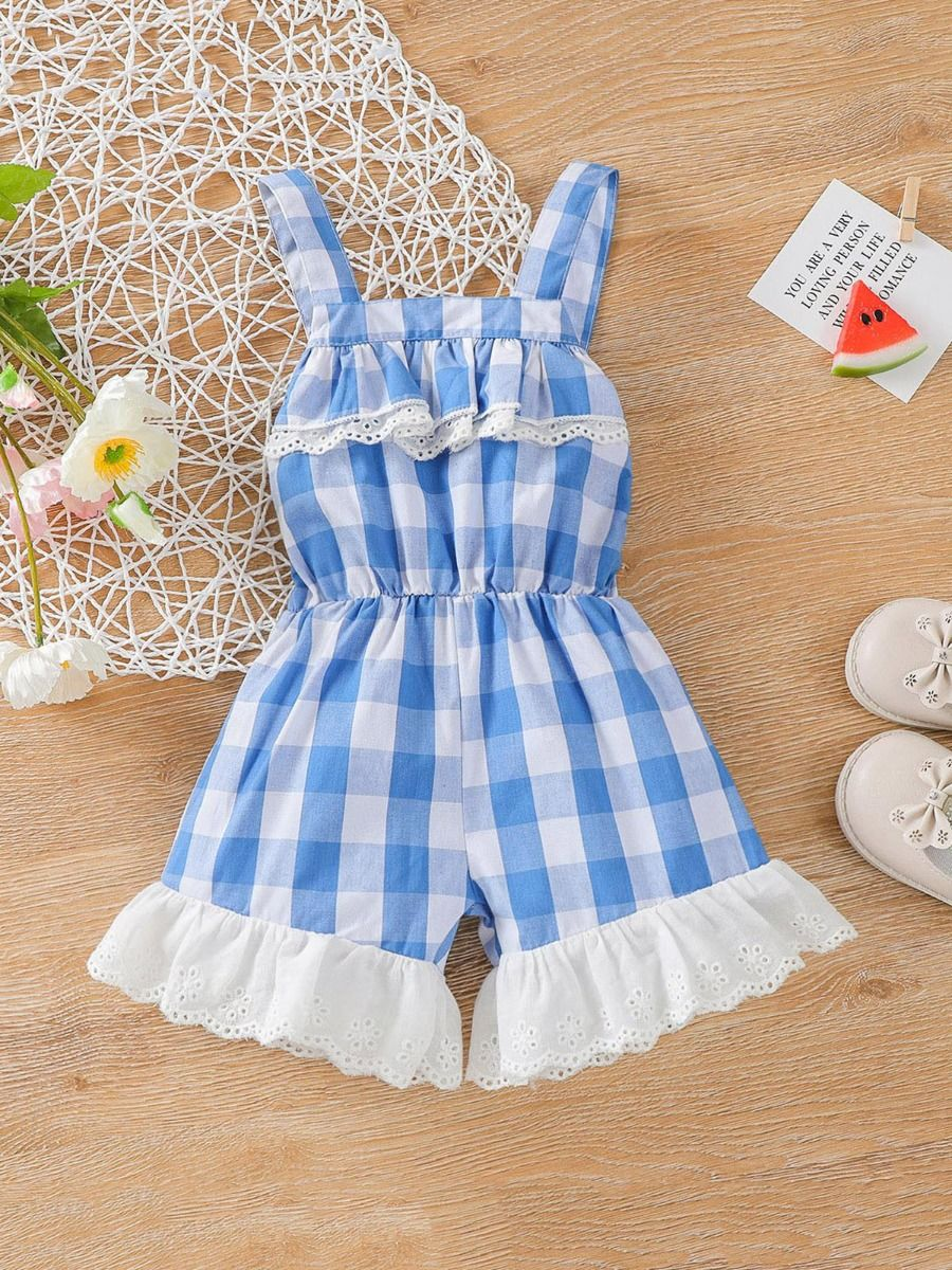 kiskissing wholesale Wholesale Checked Pattern Ruffled Hem Cami Romper For Baby